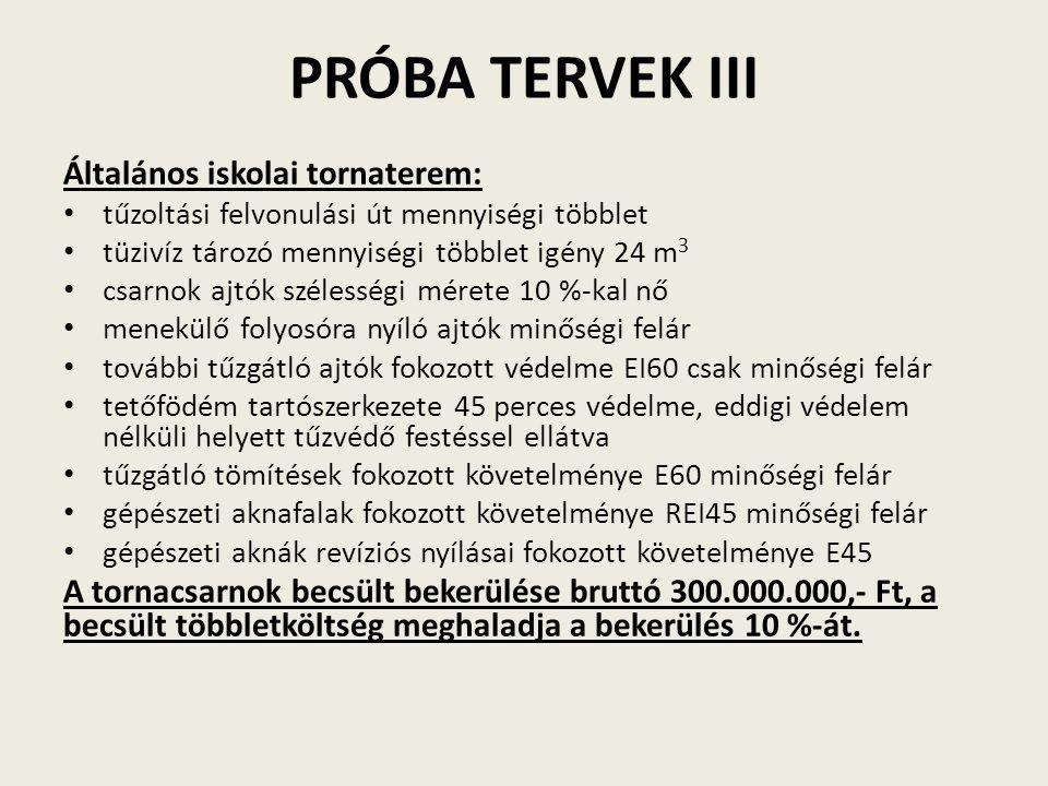 PRÓBA TERVEK III Általános iskolai tornaterem:
