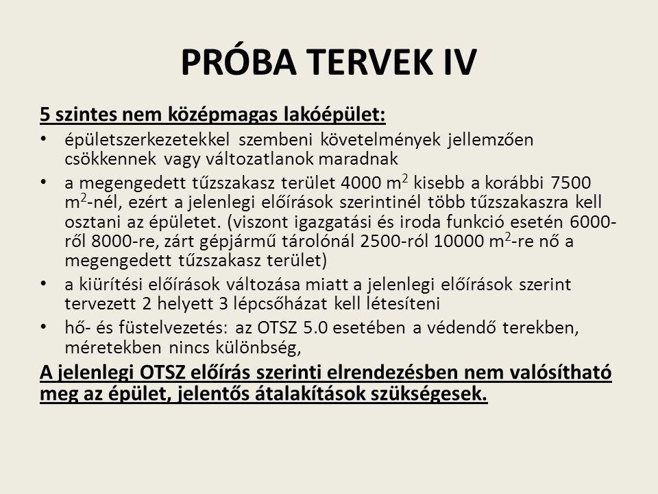 PRÓBA TERVEK IV 5 szintes nem középmagas lakóépület: