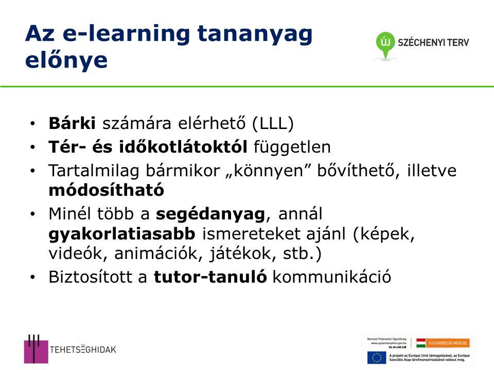 Az e-learning tananyag előnye