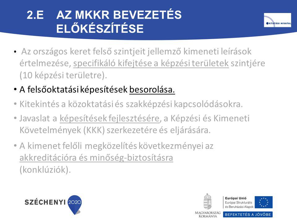 2.E Az MKKR bevezetés előkészítése