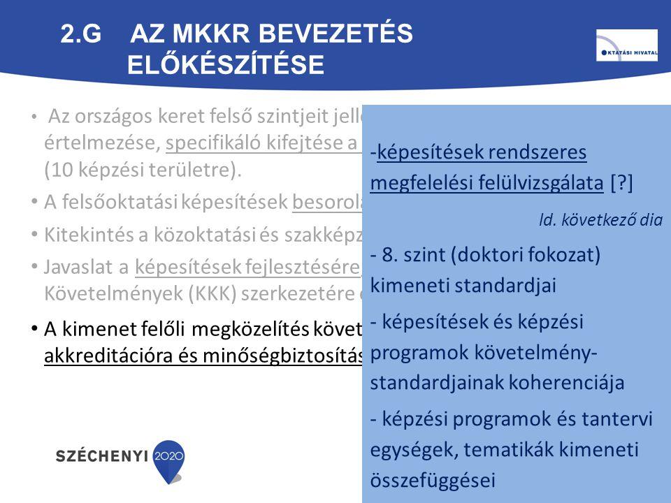 2.G Az MKKR bevezetés előkészítése