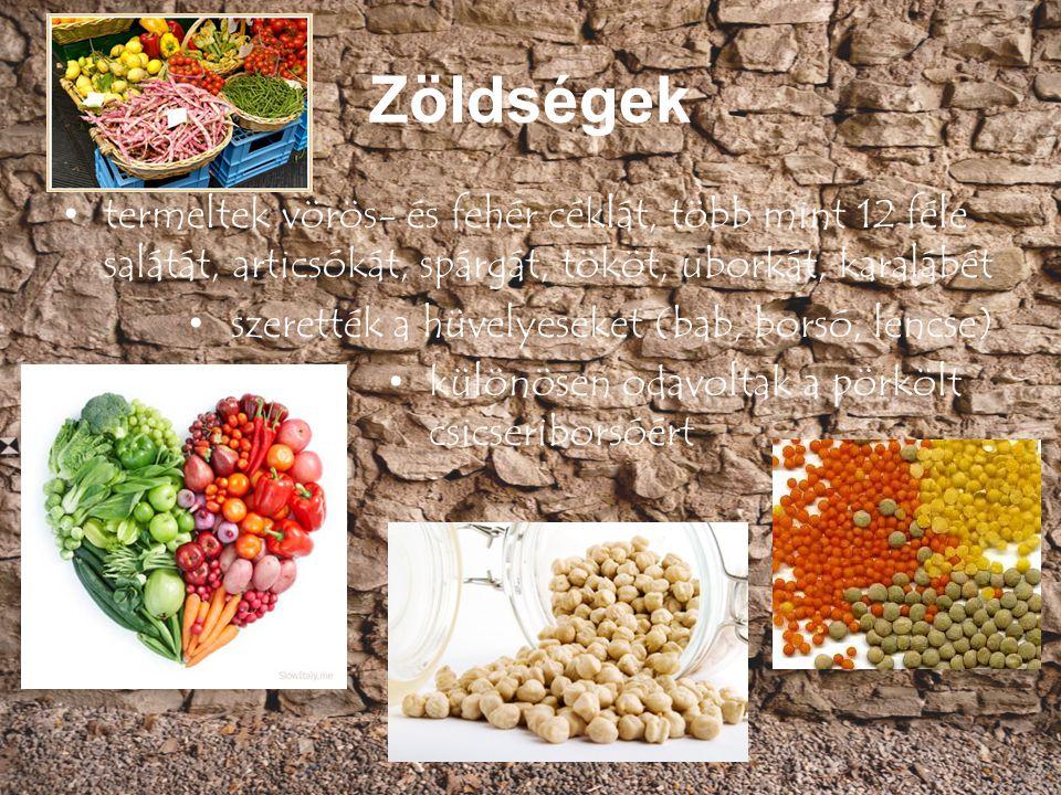 Zöldségek termeltek vörös- és fehér céklát, több mint 12 féle salátát, articsókát, spárgát, tököt, uborkát, karalábét.