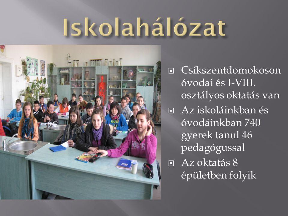 Iskolahálózat Csíkszentdomokoson óvodai és I-VIII. osztályos oktatás van. Az iskoláinkban és óvodáinkban 740 gyerek tanul 46 pedagógussal.