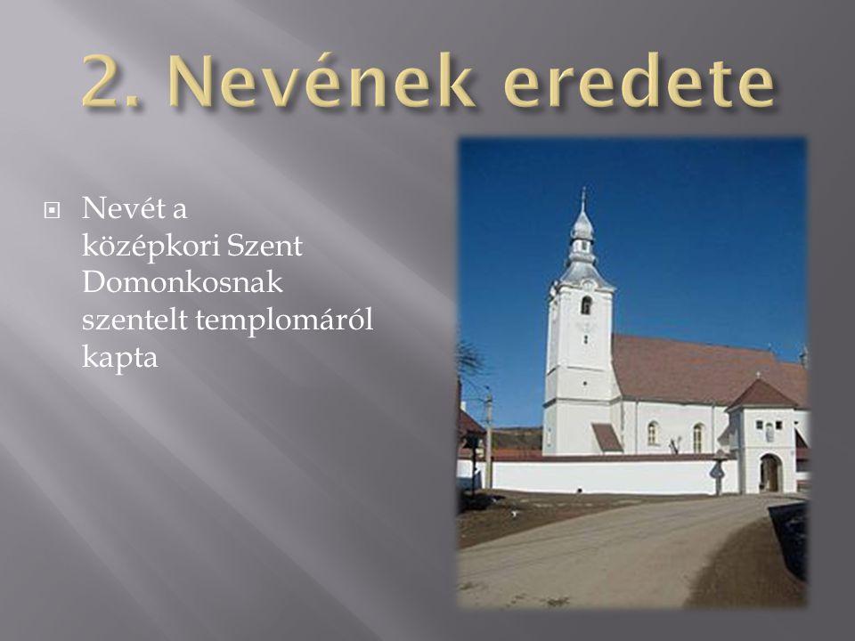 2. Nevének eredete Nevét a középkori Szent Domonkosnak szentelt templomáról kapta