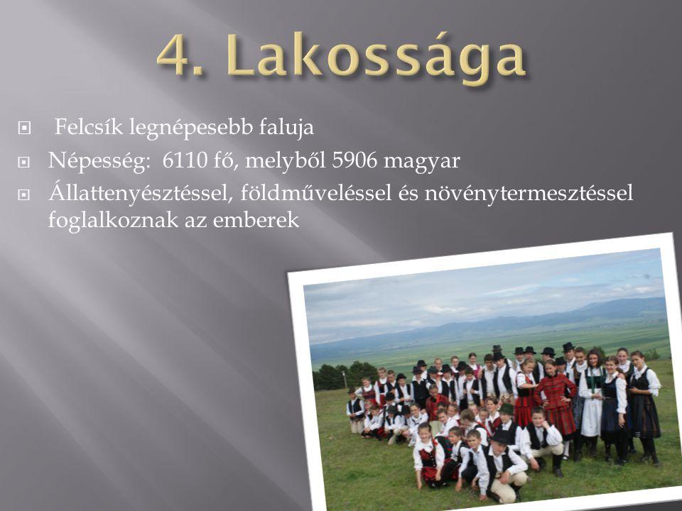4. Lakossága Felcsík legnépesebb faluja