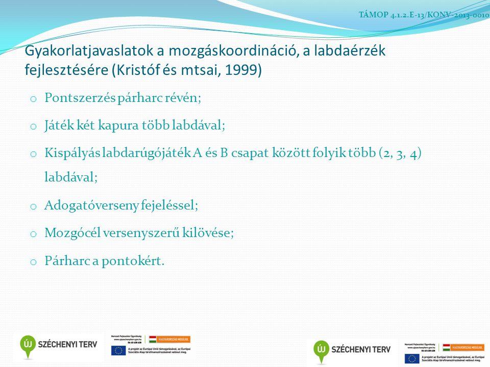 TÁMOP 4.1.2.E-13/KONV-2013-0010 Gyakorlatjavaslatok a mozgáskoordináció, a labdaérzék fejlesztésére (Kristóf és mtsai, 1999)