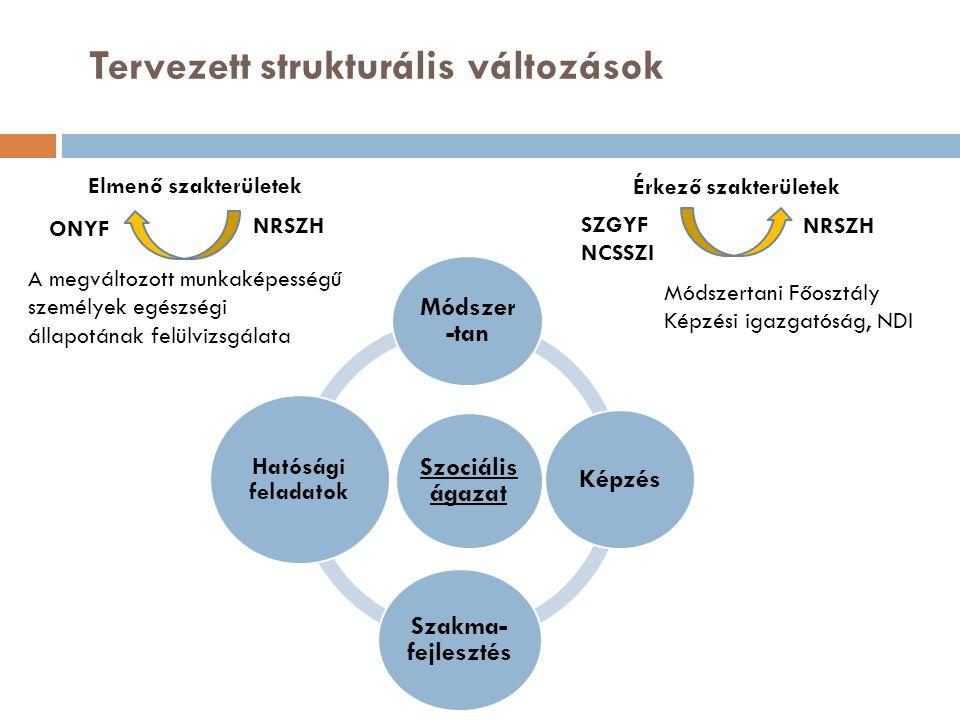 Tervezett strukturális változások