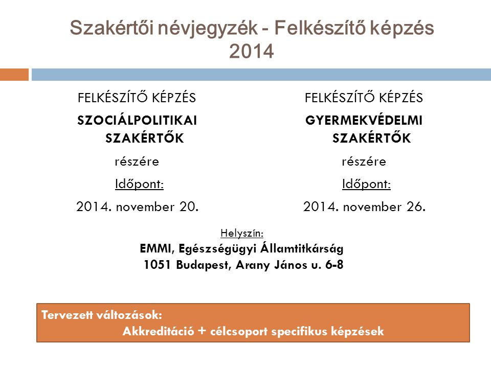 Szakértői névjegyzék - Felkészítő képzés 2014