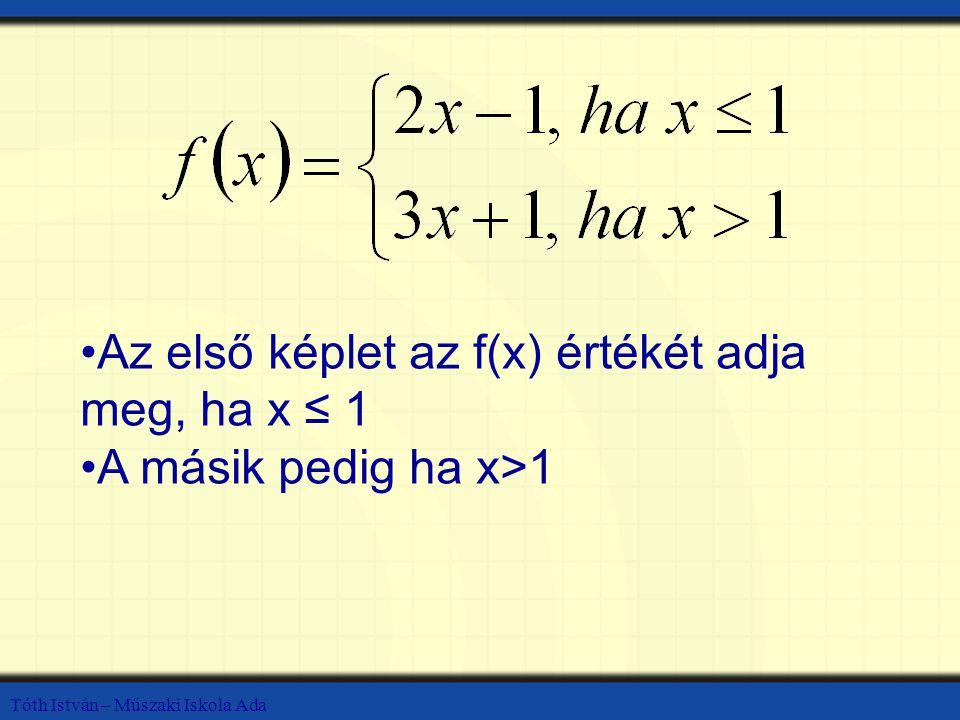 Az első képlet az f(x) értékét adja meg, ha x ≤ 1