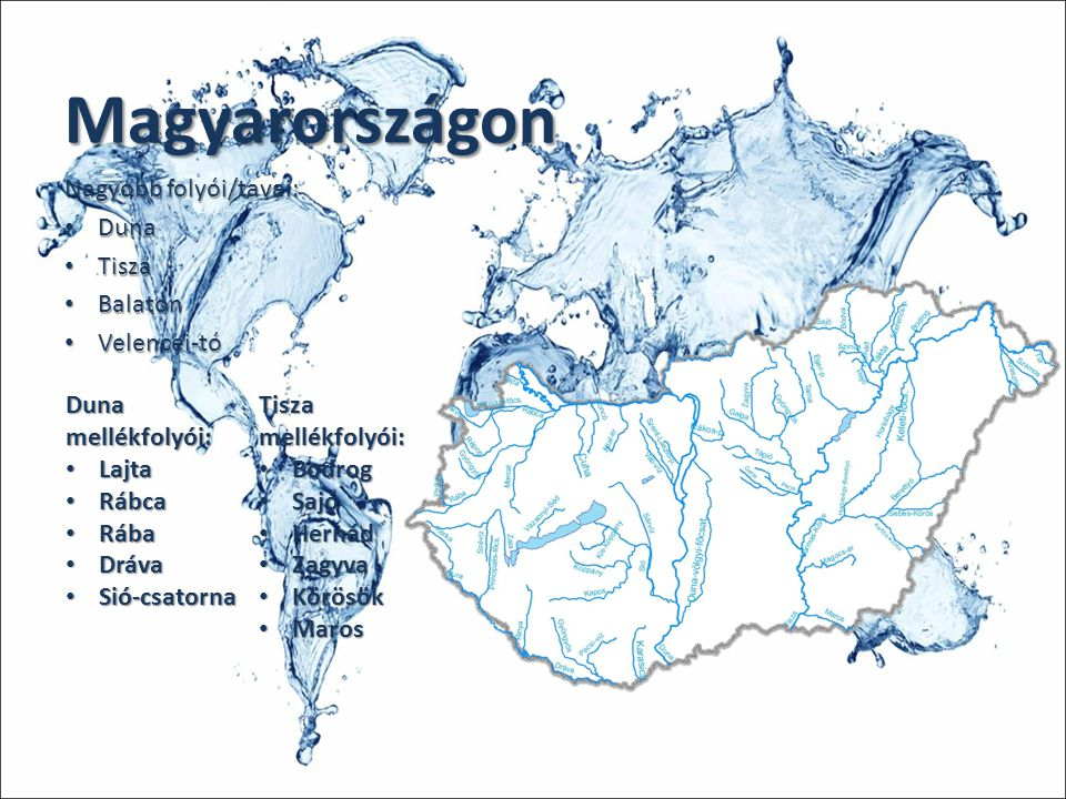 Magyarországon Nagyobb folyói/tavai: Duna Tisza Balaton Velencei-tó