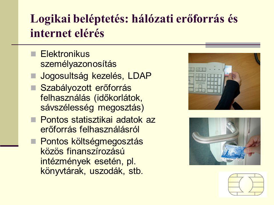 Logikai beléptetés: hálózati erőforrás és internet elérés