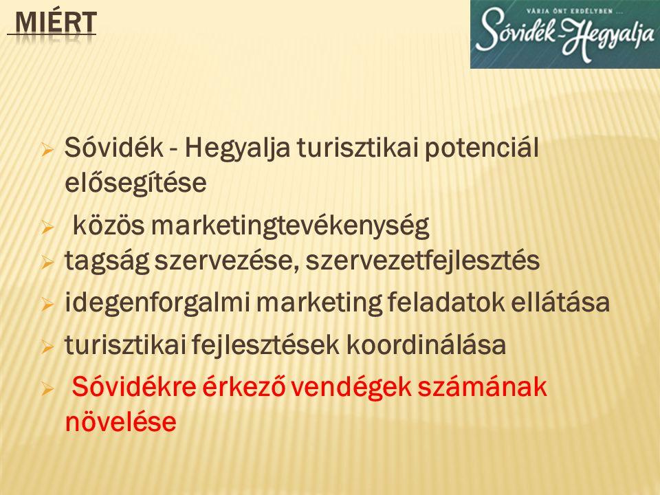 Miért Sóvidék - Hegyalja turisztikai potenciál elősegítése. közös marketingtevékenység. tagság szervezése, szervezetfejlesztés.