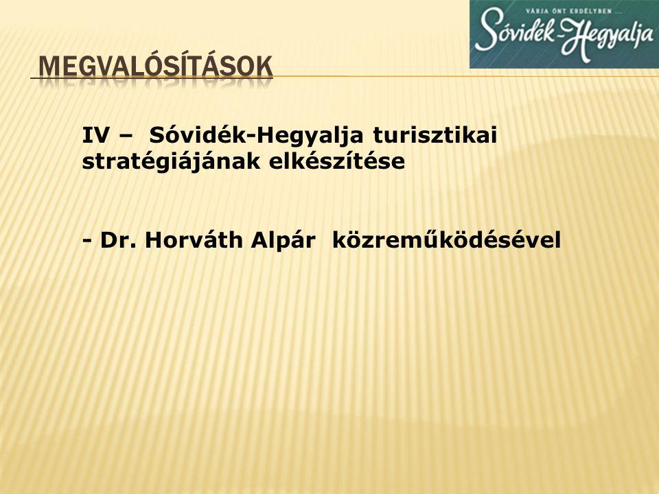 Megvalósítások IV – Sóvidék-Hegyalja turisztikai stratégiájának elkészítése.