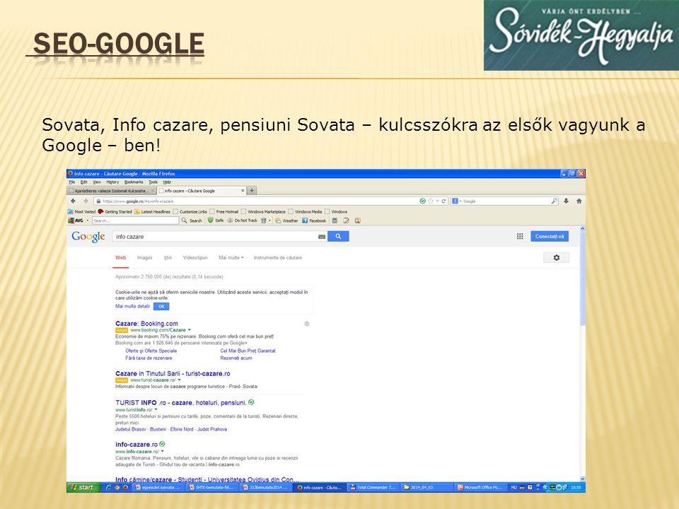 SEO-GOOGLE Sovata, Info cazare, pensiuni Sovata – kulcsszókra az elsők vagyunk a Google – ben!