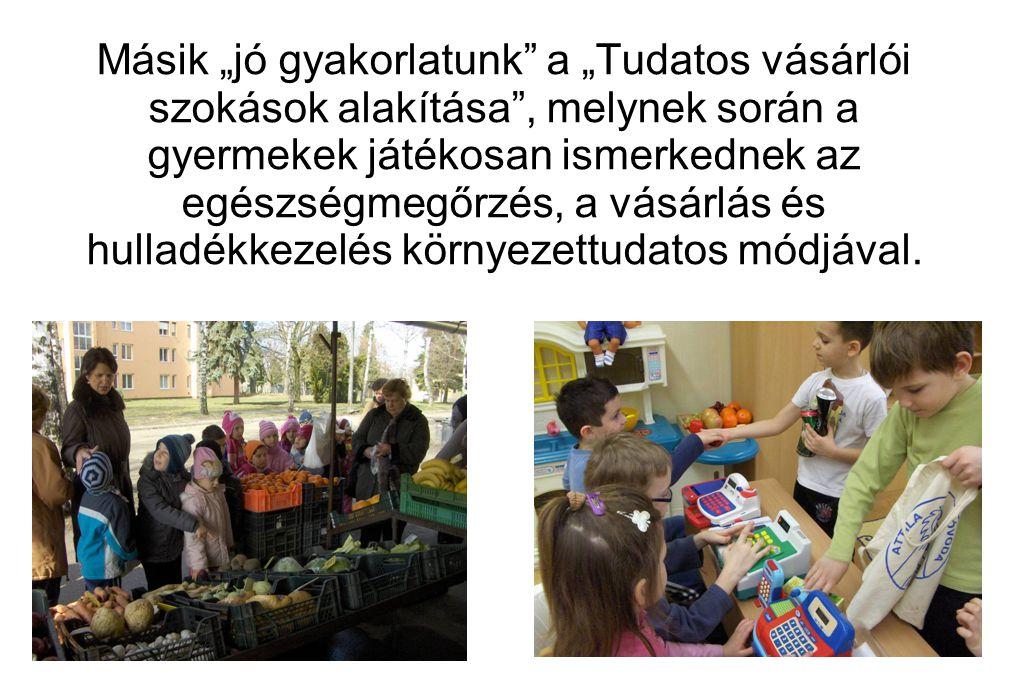 """Másik """"jó gyakorlatunk a """"Tudatos vásárlói szokások alakítása , melynek során a gyermekek játékosan ismerkednek az egészségmegőrzés, a vásárlás és hulladékkezelés környezettudatos módjával."""