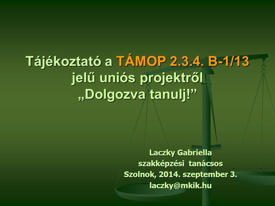 """Tájékoztató a TÁMOP 2.3.4. B-1/13 jelű uniós projektről """"Dolgozva tanulj!"""