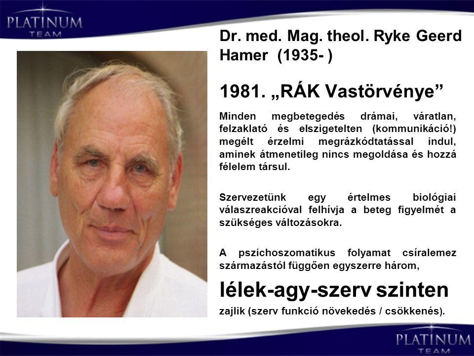 """Dr. med. Mag. theol. Ryke Geerd Hamer (1935- ) 1981. """"RÁK Vastörvénye"""