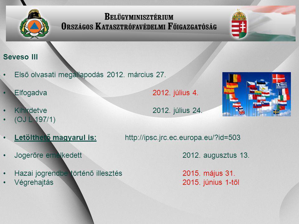 Seveso III Első olvasati megállapodás 2012. március 27. Elfogadva 2012. július 4. Kihirdetve 2012. július 24.