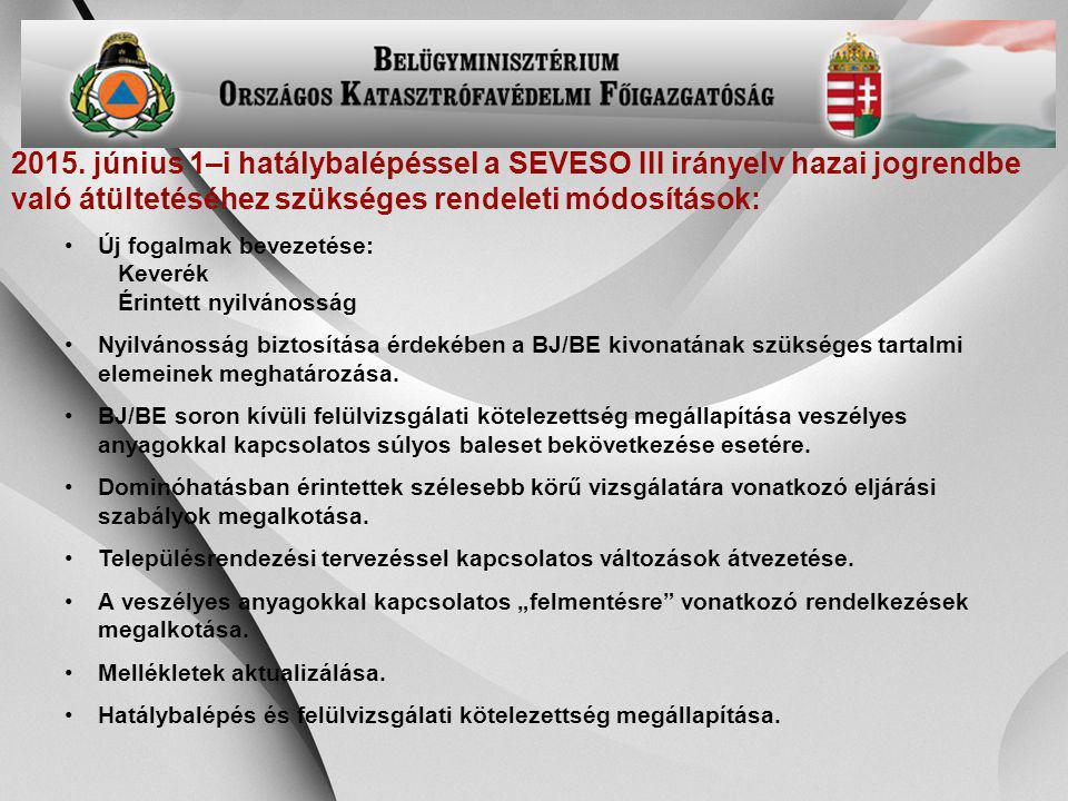 2015. június 1–i hatálybalépéssel a SEVESO III irányelv hazai jogrendbe való átültetéséhez szükséges rendeleti módosítások: