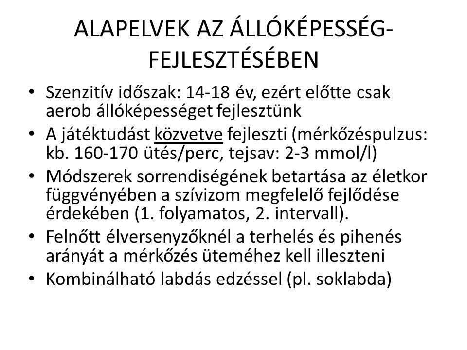 ALAPELVEK AZ ÁLLÓKÉPESSÉG-FEJLESZTÉSÉBEN