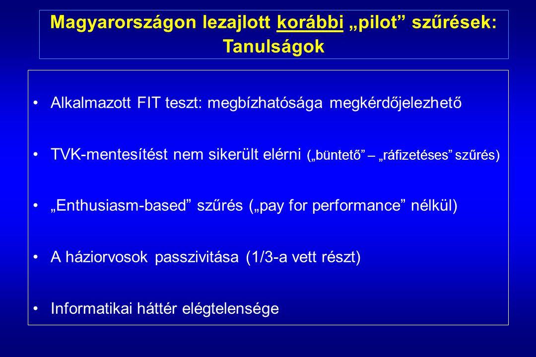 """Magyarországon lezajlott korábbi """"pilot szűrések:"""