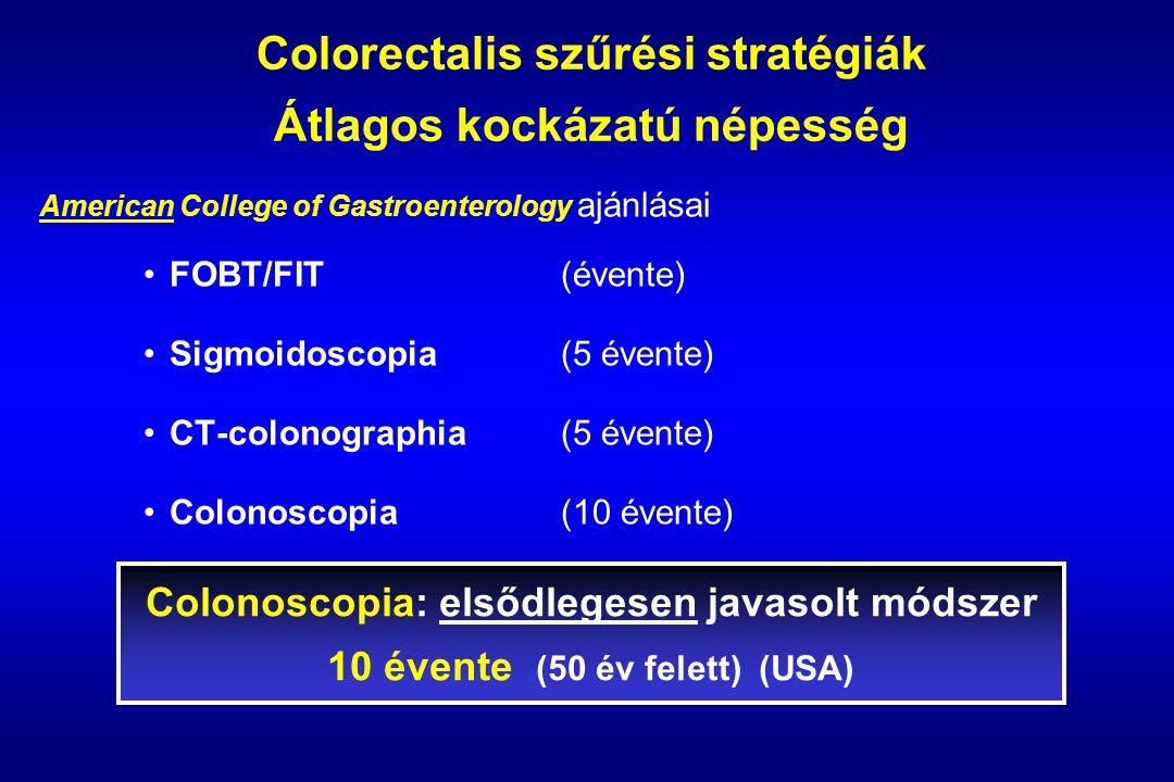 Colorectalis szűrési stratégiák Átlagos kockázatú népesség