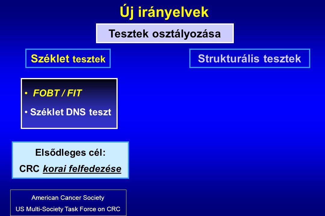 Új irányelvek Tesztek osztályozása Széklet tesztek