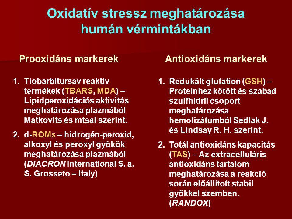 Oxidatív stressz meghatározása humán vérmintákban