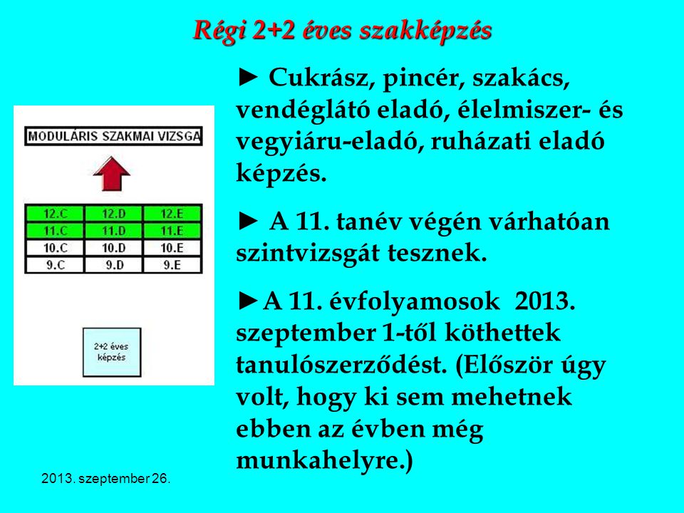 ► A 11. tanév végén várhatóan szintvizsgát tesznek.