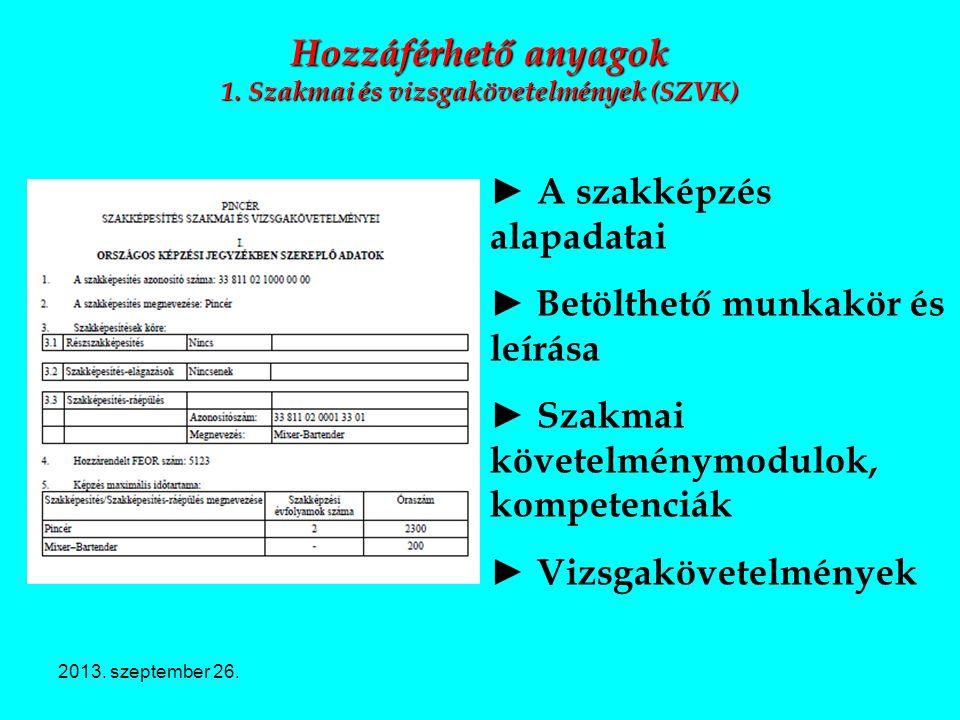 Hozzáférhető anyagok 1. Szakmai és vizsgakövetelmények (SZVK)