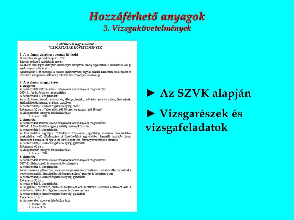 Hozzáférhető anyagok 3. Vizsgakövetelmények