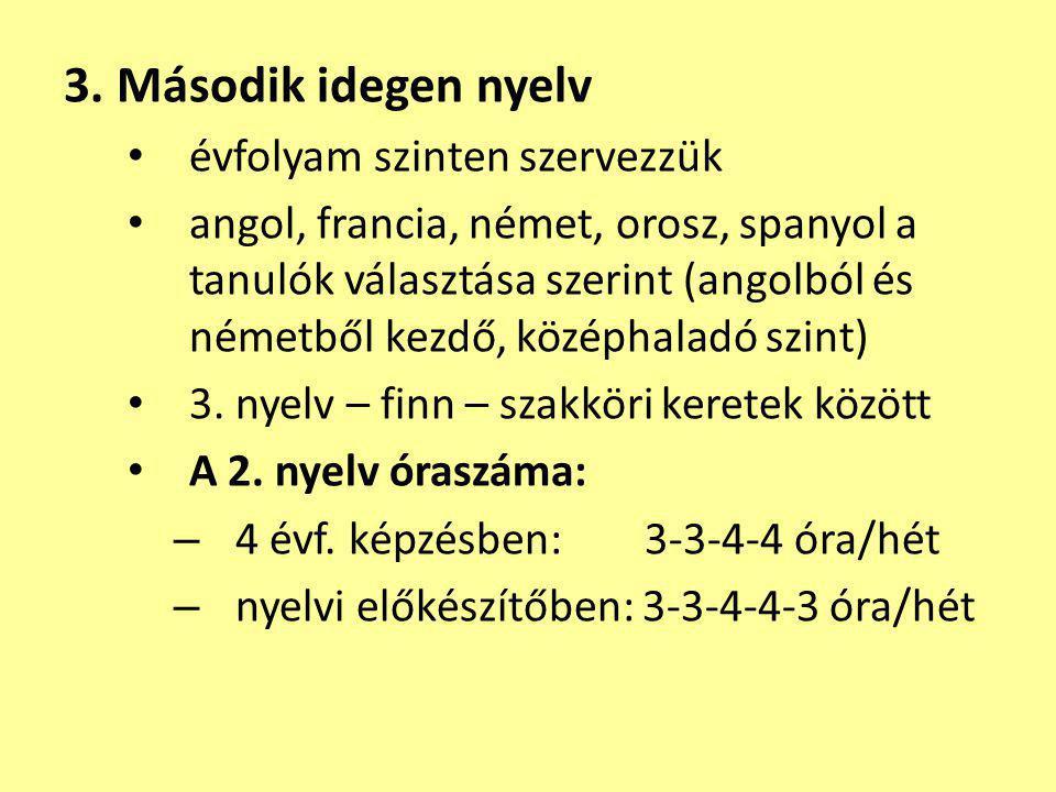 3. Második idegen nyelv évfolyam szinten szervezzük