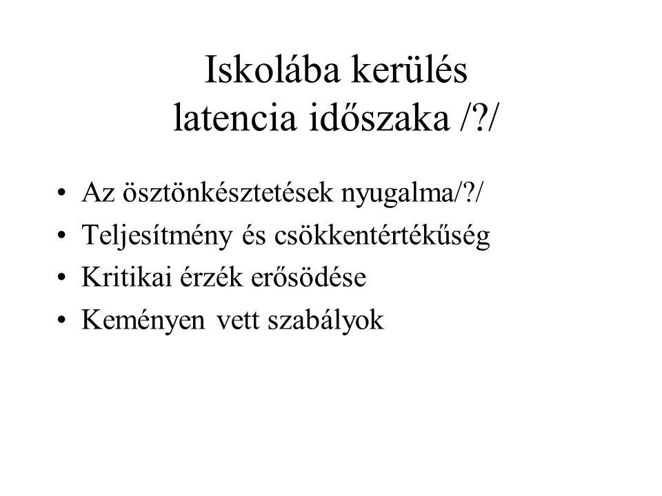 Iskolába kerülés latencia időszaka / /
