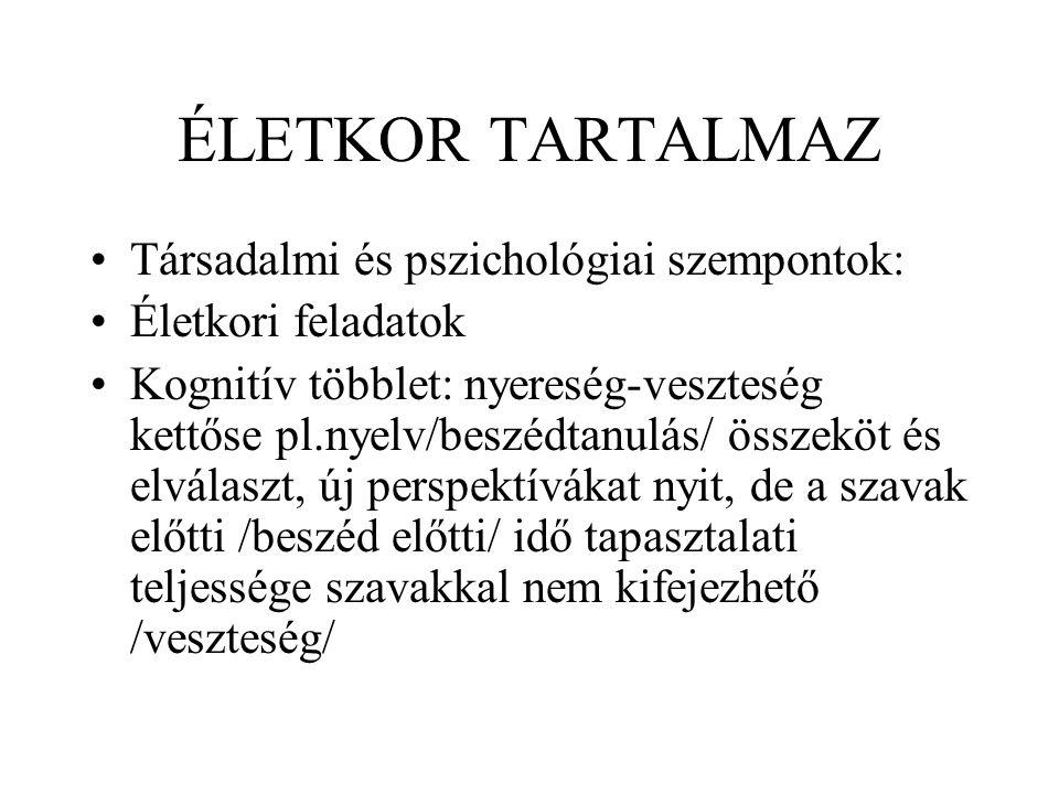ÉLETKOR TARTALMAZ Társadalmi és pszichológiai szempontok: