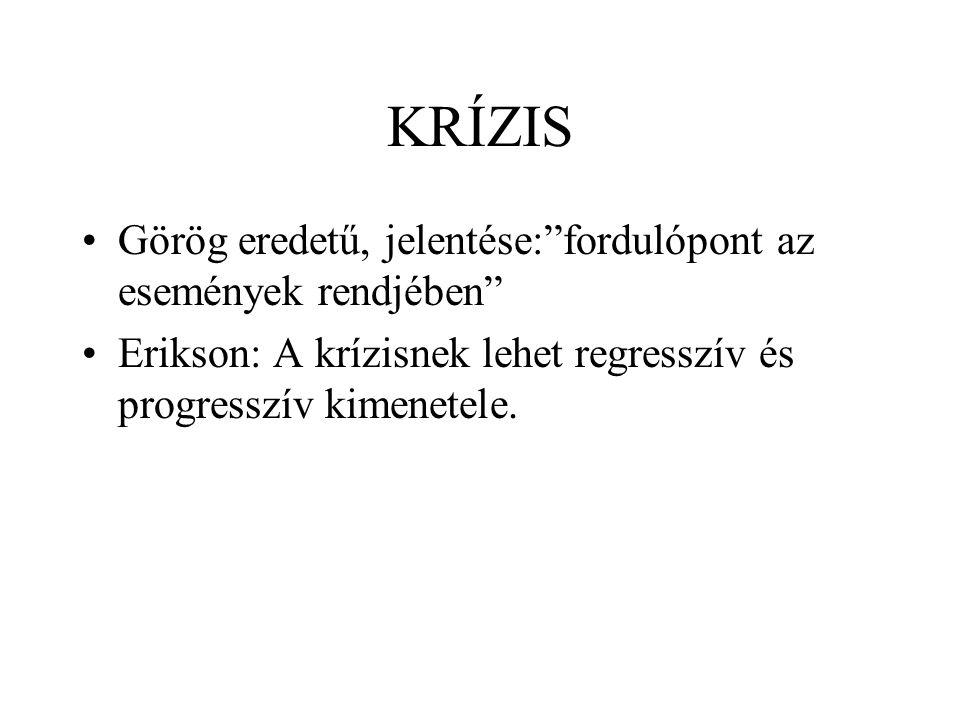 KRÍZIS Görög eredetű, jelentése: fordulópont az események rendjében