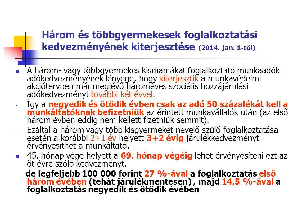 Három és többgyermekesek foglalkoztatási kedvezményének kiterjesztése (2014. jan. 1-től)