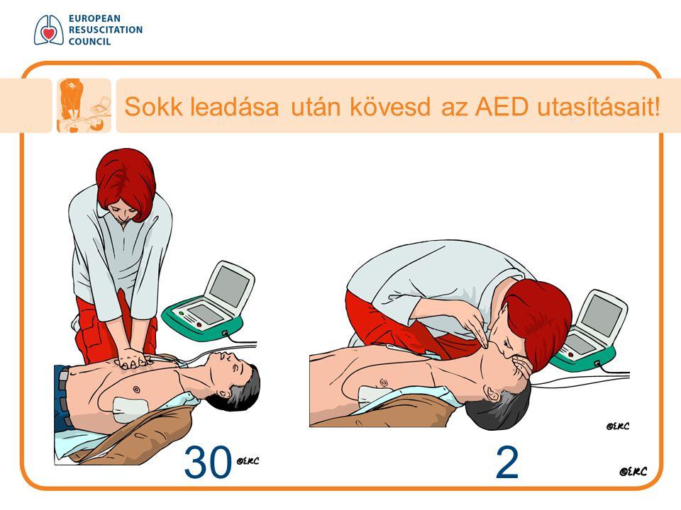 Sokk leadása után kövesd az AED utasításait!