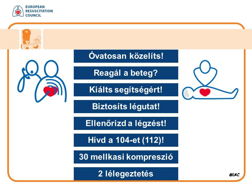 Óvatosan közelíts! Reagál a beteg Kiálts segítségért! Biztosíts légutat! Ellenőrizd a légzést! Hívd a 104-et (112)!