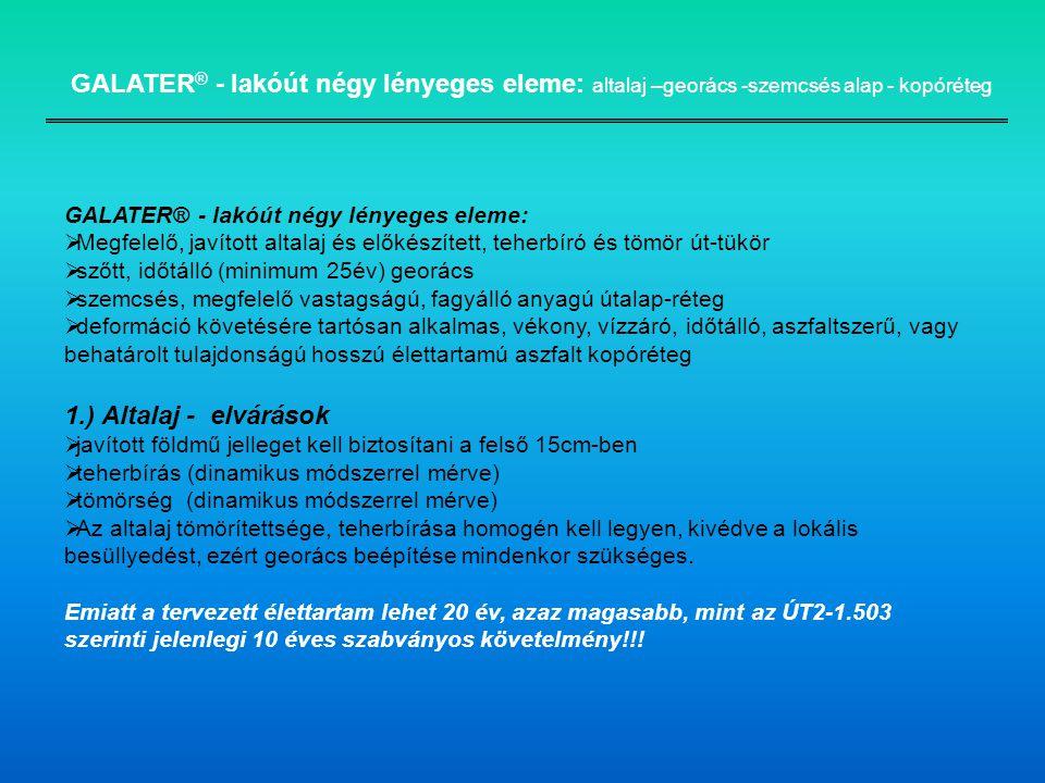 GALATER® - lakóút négy lényeges eleme: altalaj –georács -szemcsés alap - kopóréteg