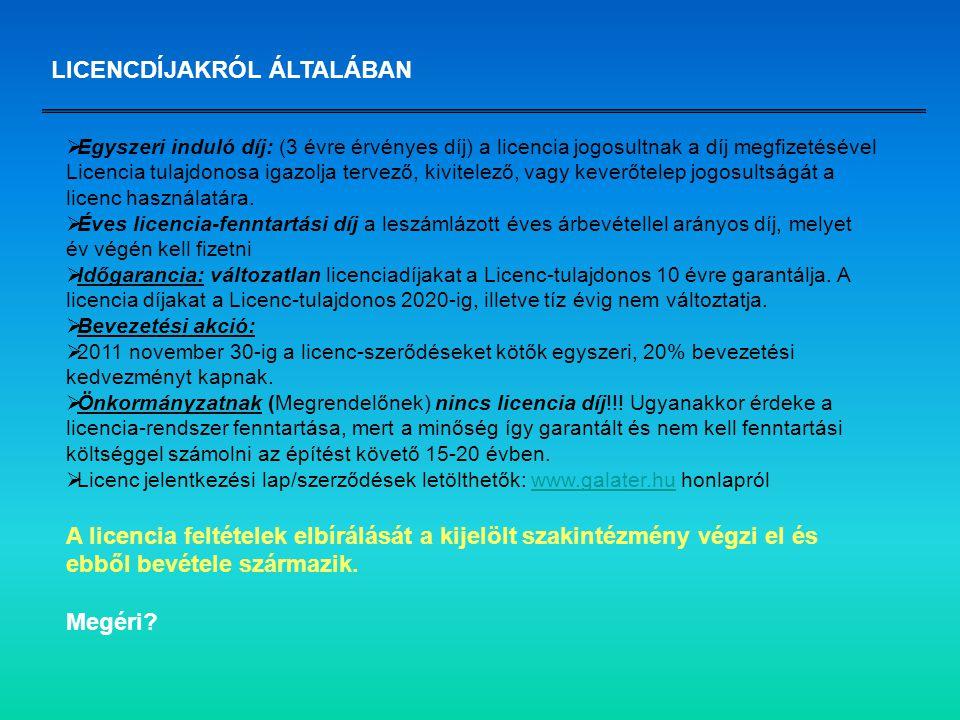 LICENCDÍJAKRÓL ÁLTALÁBAN