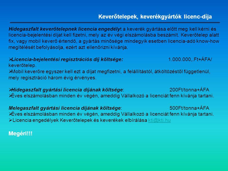 Keverőtelepek, keverékgyártók licenc-díja