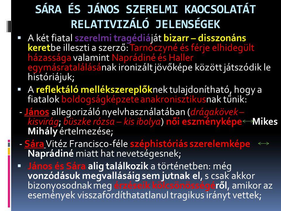 SÁRA ÉS JÁNOS SZERELMI KAOCSOLATÁT RELATIVIZÁLÓ JELENSÉGEK
