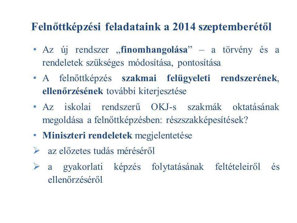 Felnőttképzési feladataink a 2014 szeptemberétől
