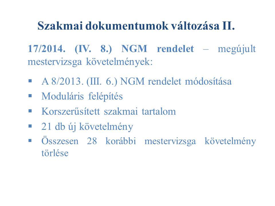 Szakmai dokumentumok változása II.