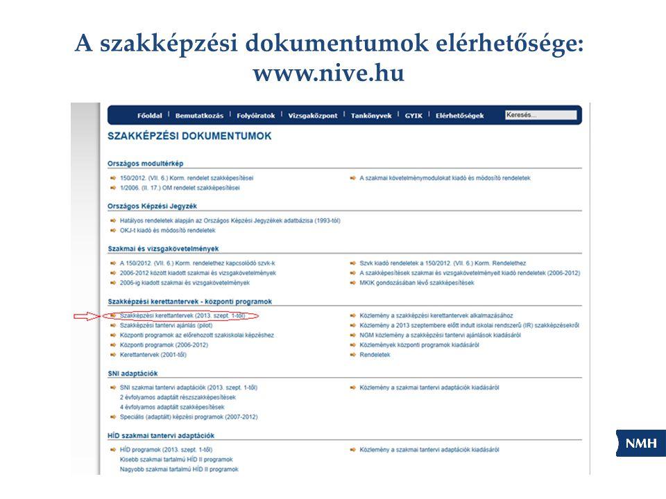 A szakképzési dokumentumok elérhetősége: