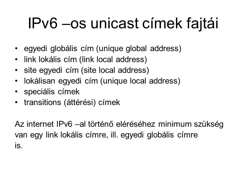 IPv6 –os unicast címek fajtái