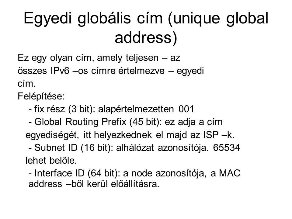 Egyedi globális cím (unique global address)