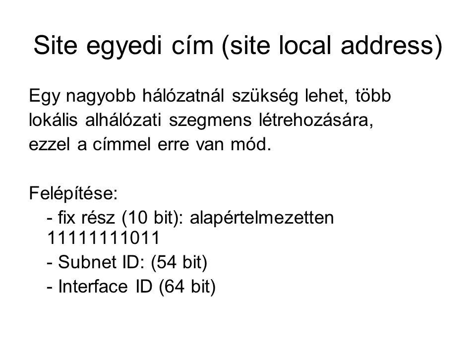 Site egyedi cím (site local address)