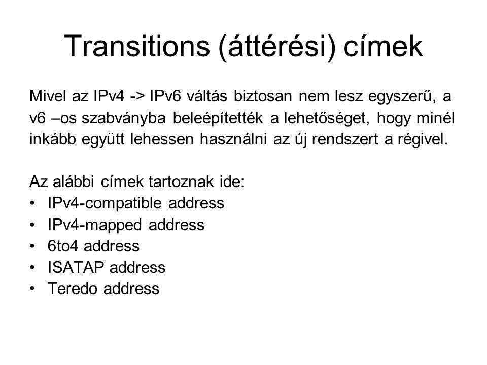 Transitions (áttérési) címek