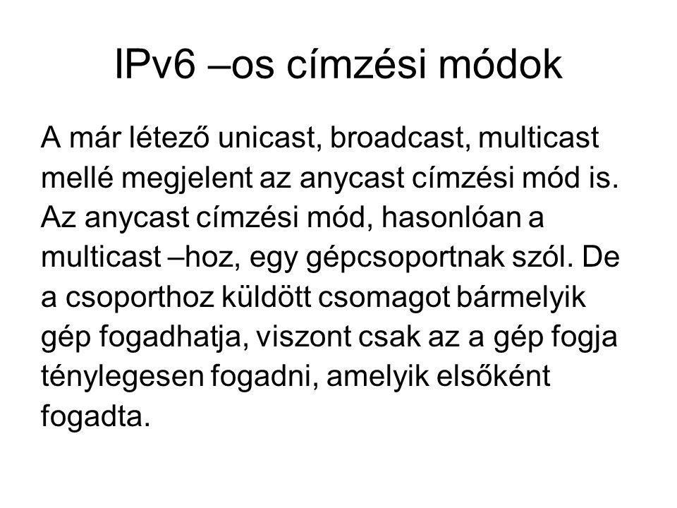 IPv6 –os címzési módok A már létező unicast, broadcast, multicast
